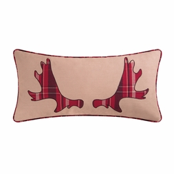 Plaid Moose Antler Pillow