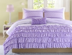 Purple Ruffles Polka Dot Comforter Set
