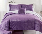 Purple Sparkle Faux Mink Comforter Set