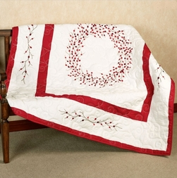 Red Berry Wreath Christmas Throw