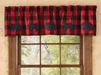 Red Buffalo Check Black Bear Window Valance