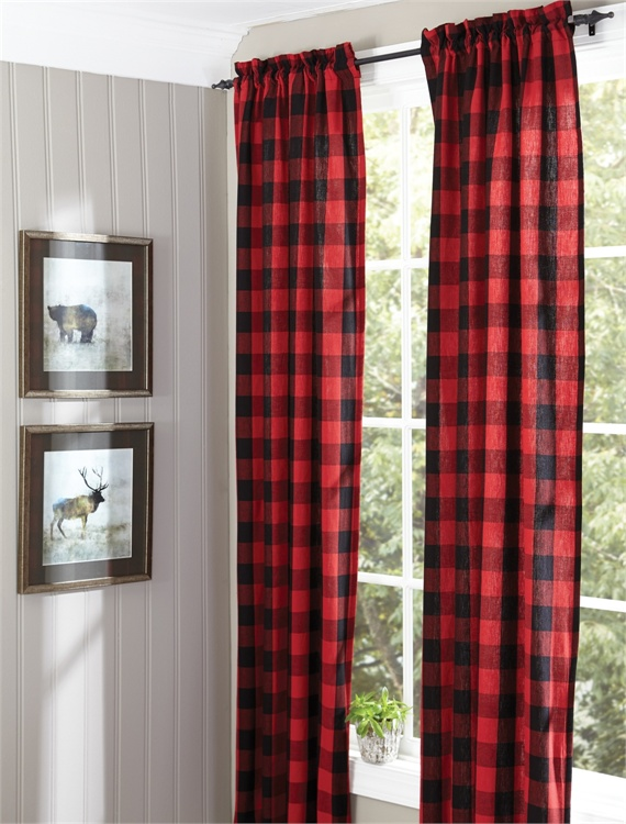 Red Buffalo Check Window Panel Curtains Tap To Expand