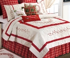 Red Berry Wreath Embroidered Quilt