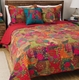 Jewel Red Boho Moroccan Quilt Set