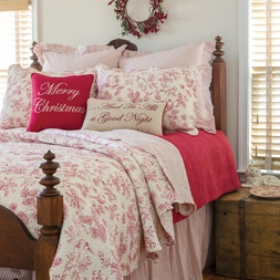 Red Toile Evergreen Berries Quilt