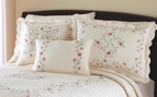 Rose Embroidered Ivory Standard Sham