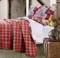 Rustic Lodge Red Plaid Reversible Quilt Set