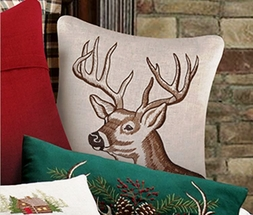 Rustic Retreat Embroidered Buck Accent Pillow