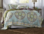 Samara Green Medallion Boho 6pc Quilt Set