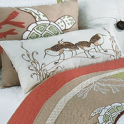 Sandpiper Cove Embroidered Accent Pillow