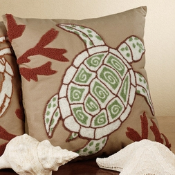 Sandpiper Cove Hooked Wool Turtle Pillow