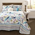 Savannah Blue Peacock 5-piece Quilt Set