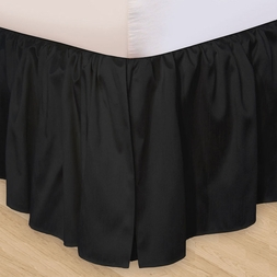Solid Black Gathered Bedskirt