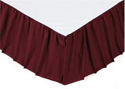 Solid Burgundy Red Gathered Bedskirt