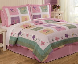 Spring Meadow Purple Flower Quilt Set