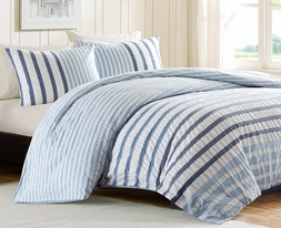 Sutton Blue or Multi Khaki Striped Duvet Cover Set