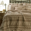 Tiana Taupe Ruched Ruffled Quilt Set