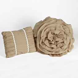 Tiana Taupe Ruched Pillows (set of two)
