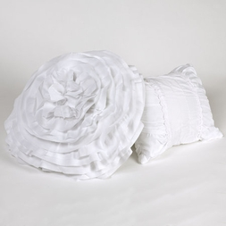 Tiana White Ruched Pillows (set of two)