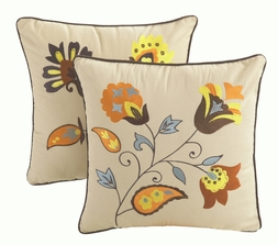 Andorra Tuscan Embroidered Floral Pillow Set (set of two)