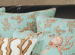 Under the Sea GREEN Coral Reef Euro Sham