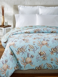 Under the Sea Blue Coral Seashells Quilt