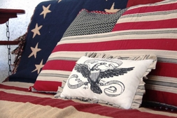 Victory Stenciled Eagle Accent Pillow