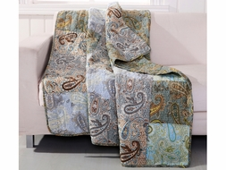 Paisley Dream Blue Quilted Throw