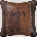 Western Spanish Cross Faux Leather Pillow