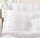 White Ruched Tiana Ruffled Quilt Set