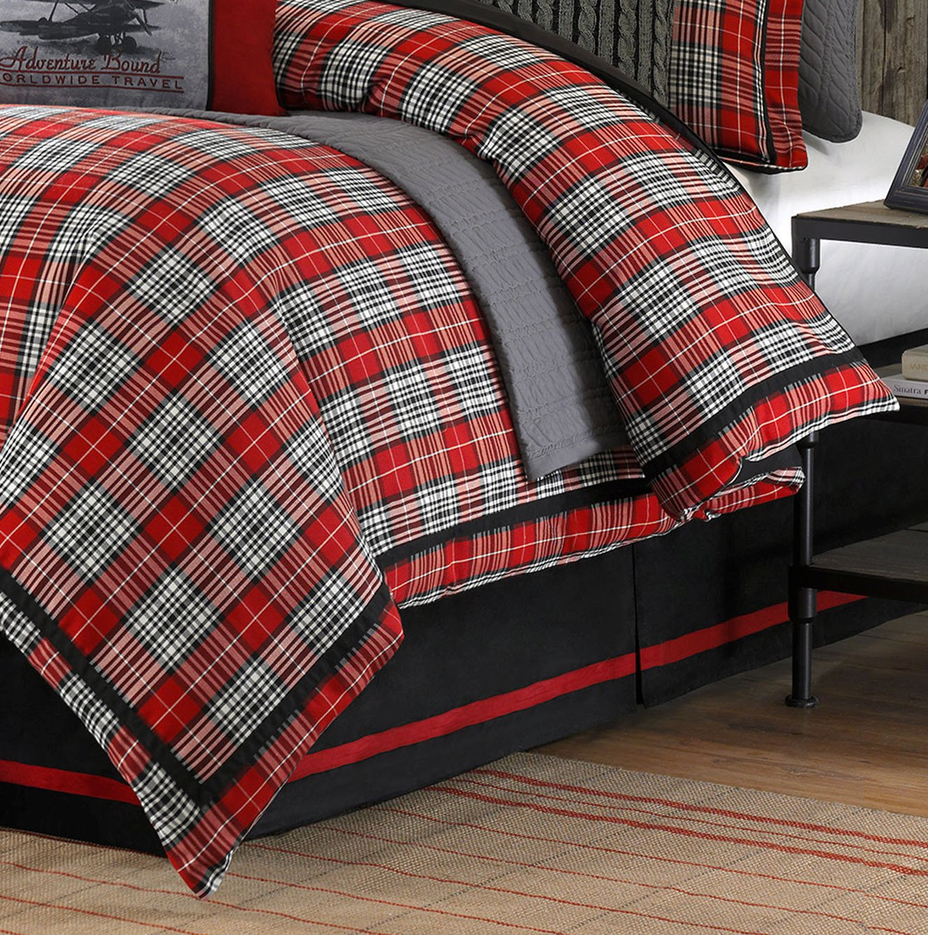 spin down fullqueen plush comfort mini reversible maclachlan microfiber blue prod home comforter vcny set montana red premier black alternative plaid