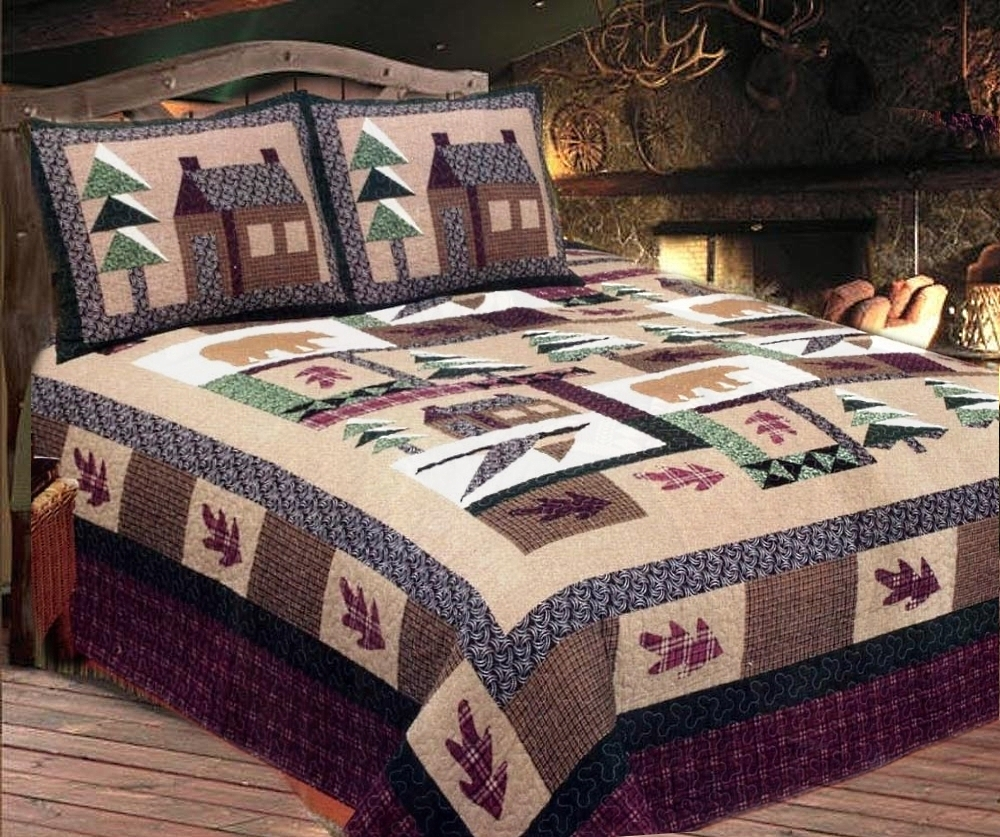 lady log red cabins quilt bird white cabin k diana black quilts