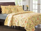 Yellow Sunset Paisley Quilt Set