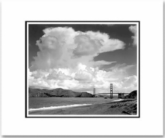 """ANSEL ADAMS - GOLDEN GATE BRIDGE FROM BAKER BEACH, SAN FRANCISCO, CA  Large Ansel Adams Matted Reproduction (16"""" x 20""""). (OUT OF STOCK)"""