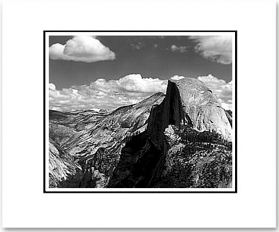 "HALF DOME & CLOUDS, YOSEMITE NAT'L PARK  Large Ansel Adams Matted Reproduction (16"" x 20"") (OUT OF STOCK)"