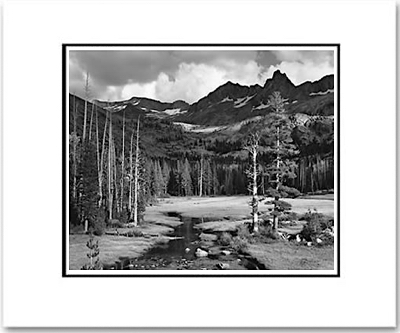 "ANSEL ADAMS - MOUNT ANSEL ADAMS, LYELL FORK OF THE MERCED RIVER  Large Ansel Adams Matted Reproduction (16"" x 20"")"