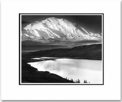"MT. MCKINLEY AND WONDER LAKE, MT. MCKINLEY NAT'L PARK,  ALASKA  Large Ansel Adams Matted Reproduction (16"" x 20"")"