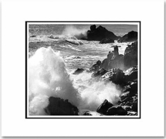 "SURF AND ROCKS, TIMBER COVE, CALIFORNIA  Large Ansel Adams Matted Reproduction (16"" x 20"")"