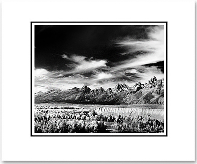 "ANSEL ADAMS - TETONS & SNAKE RIVER, GRAND TETON NAT'L PARK, WYOMING   Large Ansel Adams Matted Reproduction (16"" x 20"")"