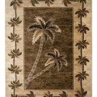 Beige Bahamas Palm Tree Rug 2321