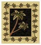 Black  Bahamas Palm Tree Rug 2318