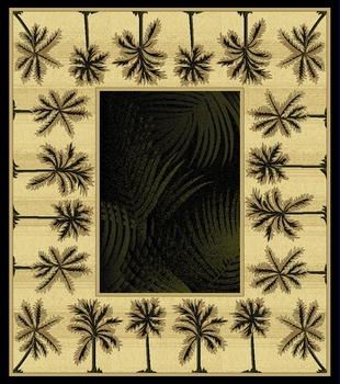 Black  Bahamas Palm Tree Rug 2321