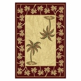 Bordeaux  Bahamas Palm Tree Rug 2320