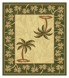 Green Bahamas Palm Tree Rug 2320