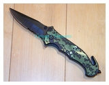 Green Spring Assist Knife-YC-S-8313-BKGN-WJ