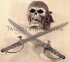 Pirate Skull Wall Mount With Daggers KN011