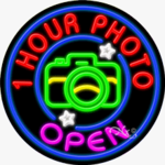 1 Hour Photo Open Circle Shape Neon Sign