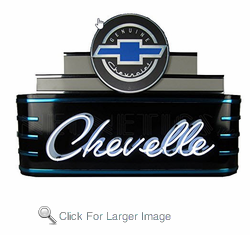 Art Deco Marquee Chevelle Neon Sign in Metal can