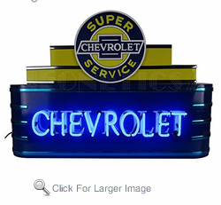 Art Deco Marquee Chevrolet Neon Sign in metal can