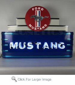 Art Deco Marquee Mustang Neon Sgn In Steel Can
